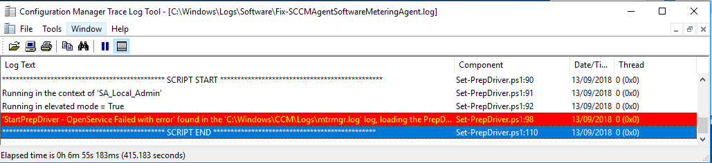 Fixing the Software Metering agent when having error