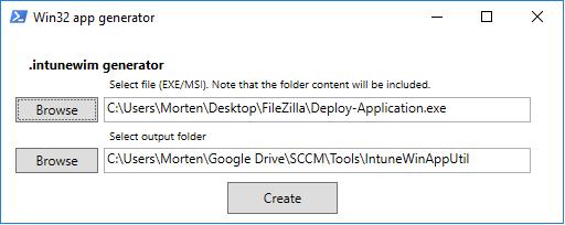 IntuneWinAppUtil PowerShell GUI