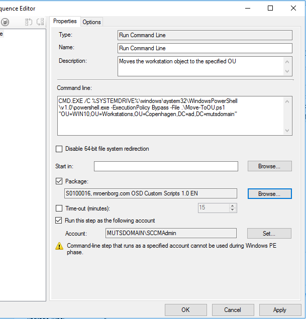 Move computer object in a SCCM Task Sequence using a